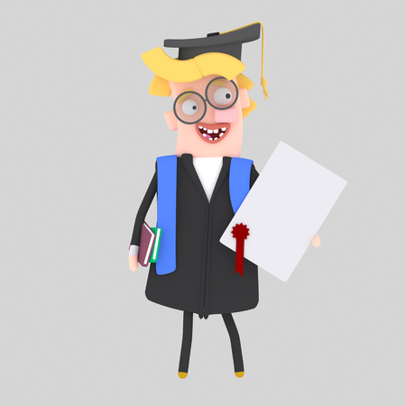 Graduate blonde man with diploma paper and book. 3d illustration
