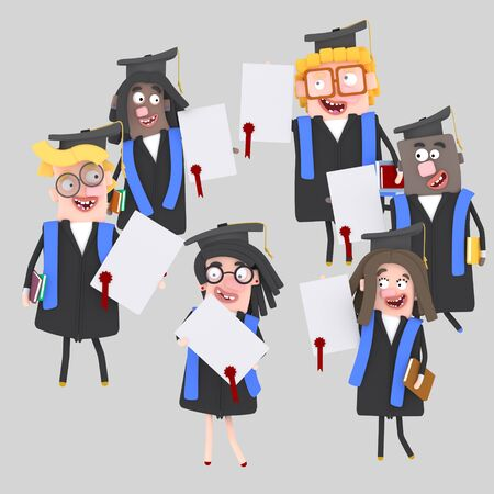 Graduate students with their diplomas paper. 3d illustration