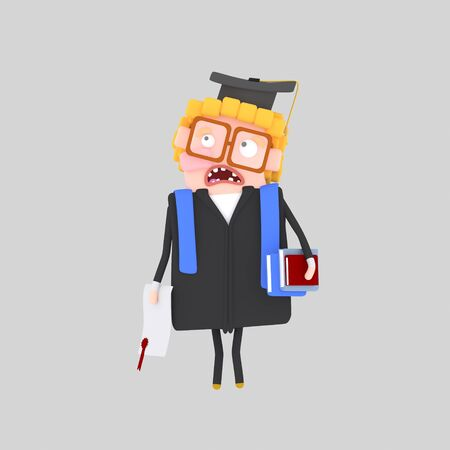 Worried Graduate boy. 3d illustration Banco de Imagens