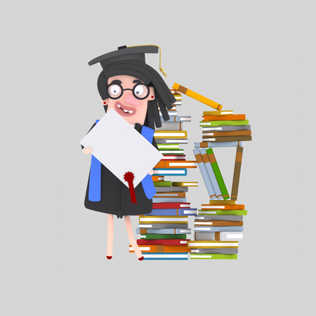Graduate woman with diploma paper in front of books mountain. 3d illustration