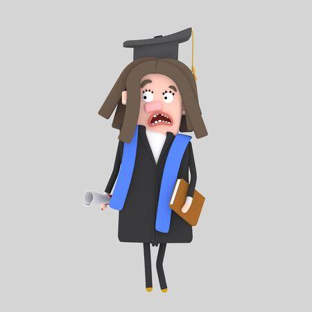 Worried Graduate girl. 3d illustration Stock Photo