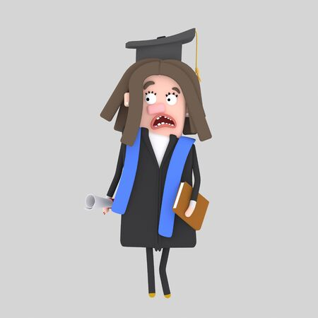 Worried Graduate girl. 3d illustration Banco de Imagens - 98826880