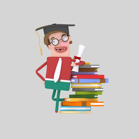 Graduate young boy leaning on a stack of books. 3d illustration Banco de Imagens