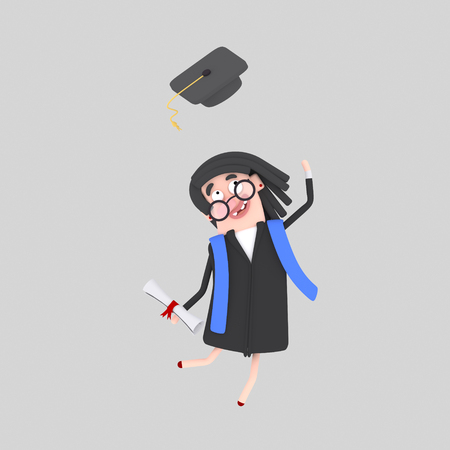 Graduate woman jumping with her cap in the air. 3d illustration Stok Fotoğraf