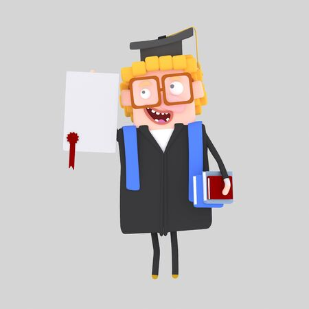 Graduate boy with diploma paper and book. 3d illustration Banco de Imagens