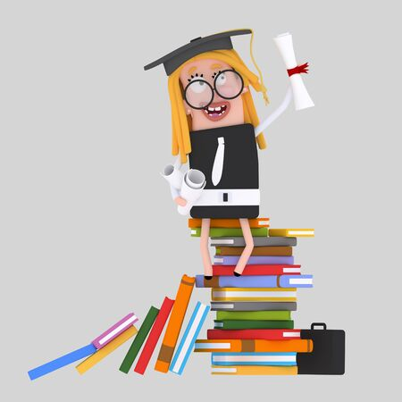 Graduate girl learning on a stack of books. 3d illustration