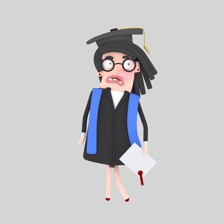 Worried graduate student. 3d illustration