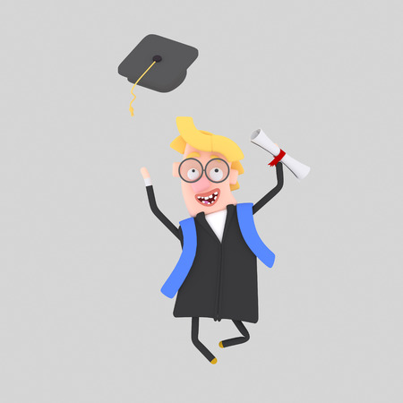 Graduate blonde boy jumping with his cap in the air. 3d illustration Banco de Imagens - 98826902