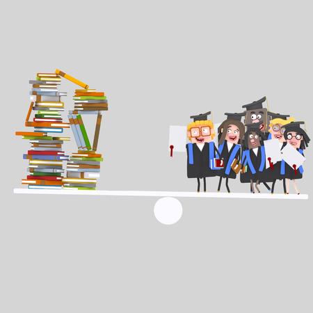 Graduate students balance. 3d illustration Banco de Imagens
