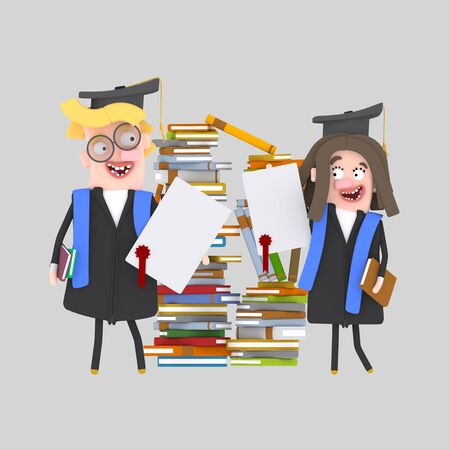 Couple graduate students with their diploma paper in front of a mountain of books. 3d illustration