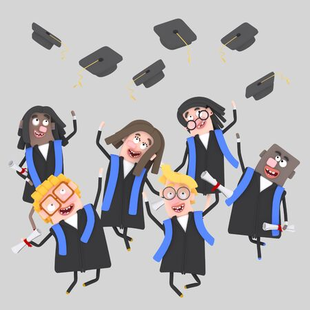Graduate students jumping with their caps in the air. 3d illustration Stock Photo