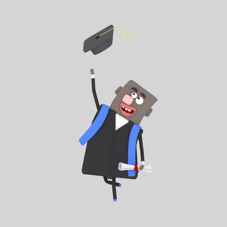 Graduate black man jumping with his cap in the air. 3d illustration
