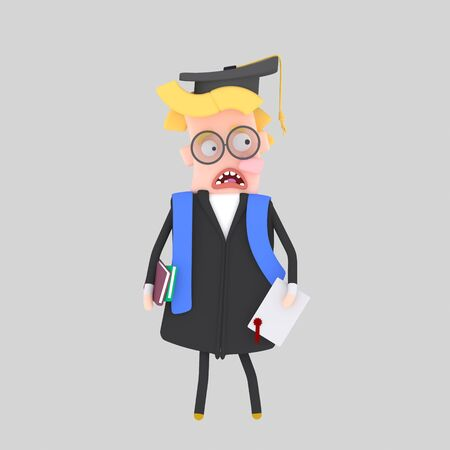 Worried Graduate blonde boy. 3d illustration