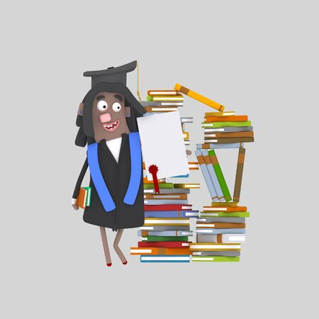 Graduate girl with diploma paper in front of books mountain. 3d illustration