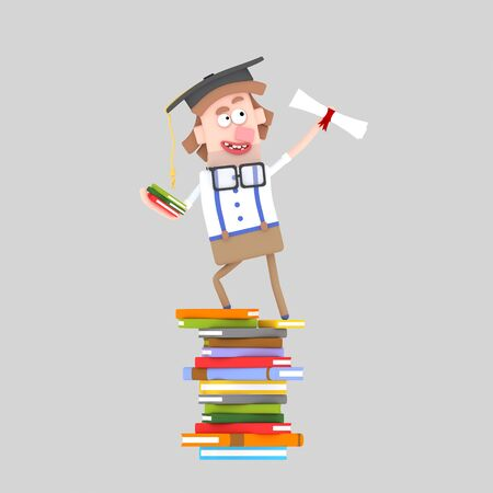 Graduate boy leaning on a stack of books. 3d illustration Stock Photo