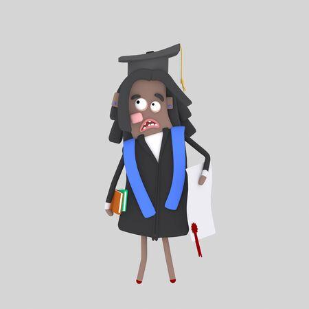 Worried Graduate black student. 3d illustration