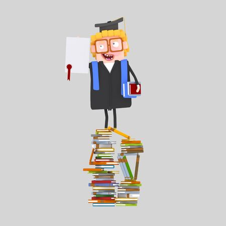 Graduate boy with diploma paper on a mountain of books. 3d illustration Banco de Imagens - 98826959