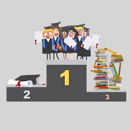 Students, books and diploma on podium. 3d illustration Banco de Imagens