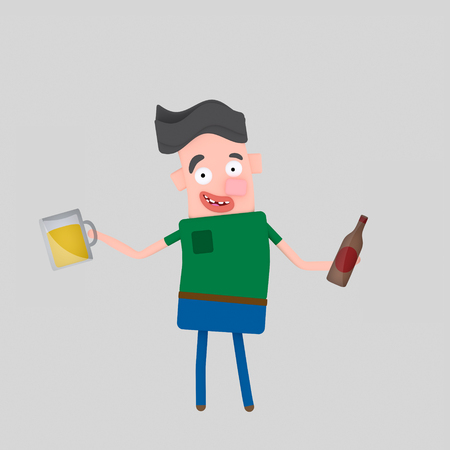Young boy holding beer bottle and glass. 3d illustration