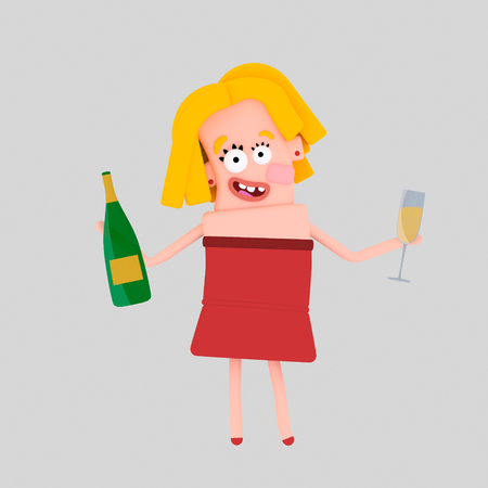 Woman holding champagne bottle and glass. 3d illustration Stock Photo