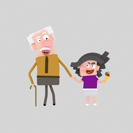 Grandfather and granddaughter walking. 3d illustration
