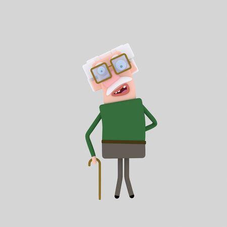 Old man Grandparent. 3d illustration