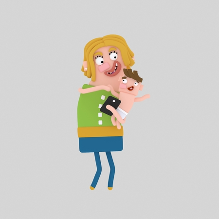 Mother holding her baby and her phone. 3d illustration