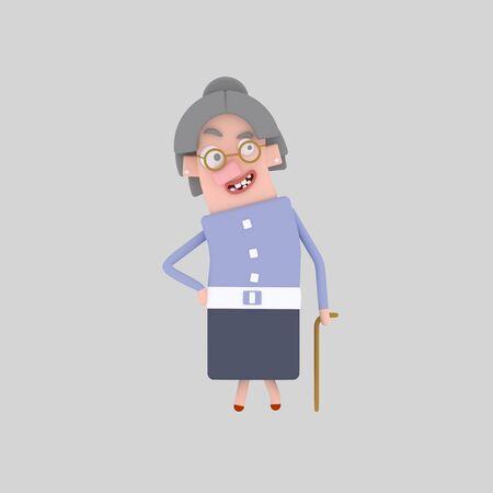 Nice grandmother. Old woman 3d illustration Foto de archivo - 98949168