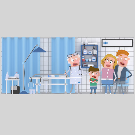 Parents and son with doctor at hospital. 3d illustration