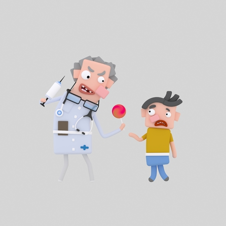 Terrific doctor giving candy to boy. 3d illustration Stock Photo