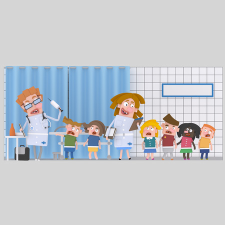 Children at medical clinic for bloods analysis. 3d illustration Stock Photo