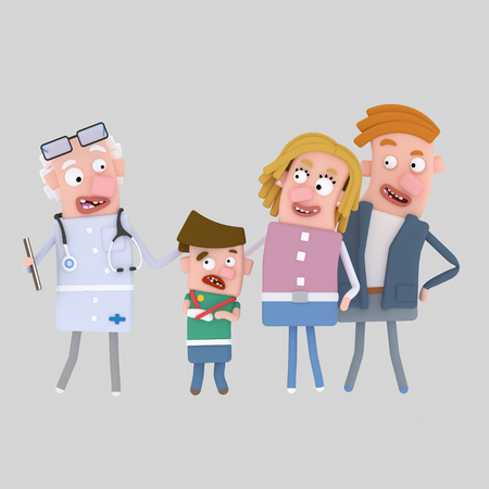 Parents and son with doctor. 3d illustration