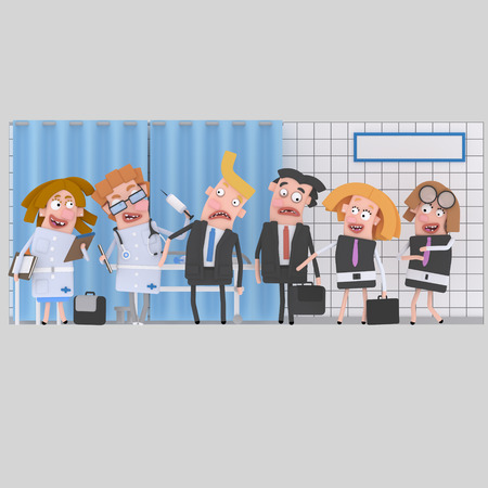 Businesspeople at clinic for medical review. 3d illustration