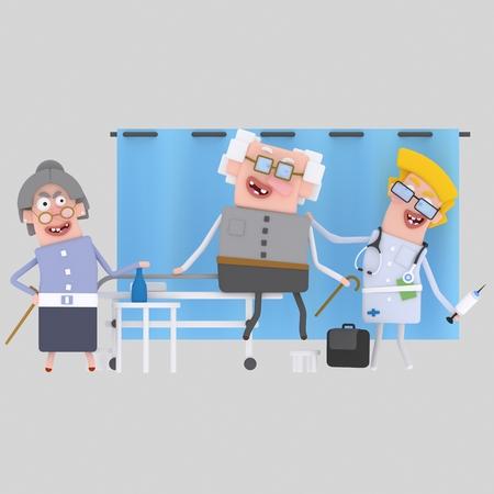 Old people at hospital. 3d illustration