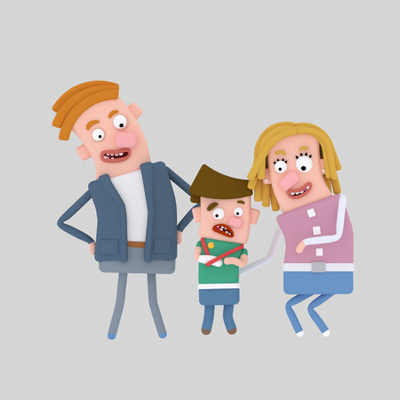 Little boy with broken arm with parents. 3d illustration Stock Photo