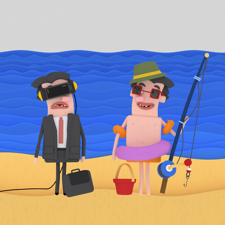Businessman and fisherman on beach. 3d illustration 스톡 콘텐츠