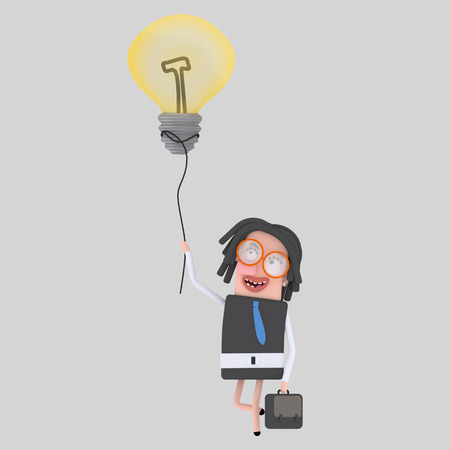 Businesswoman walking with her great idea. 3d illustration