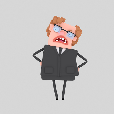 Angry business boss. 3d illustration