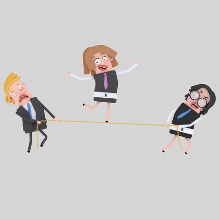 Businesswoman balancing on rope. 3d illustration Stock Photo