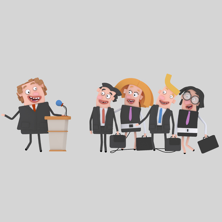 Businessman giving a meeting on a pulpit. 3d illustration Stock Photo