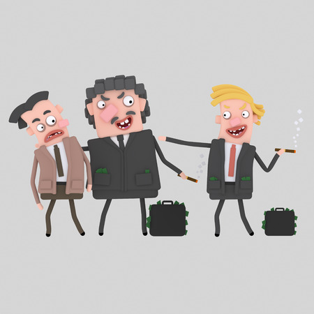 Corrupt men having deal. 3d illustration .. 3d illustration Stock Photo