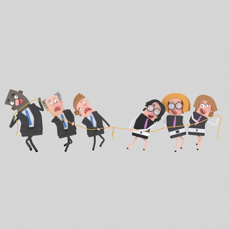 Business people with rope. 3d illustration