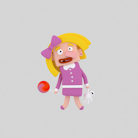 Blonde girl holding a teddy and candy. 3d illustration.