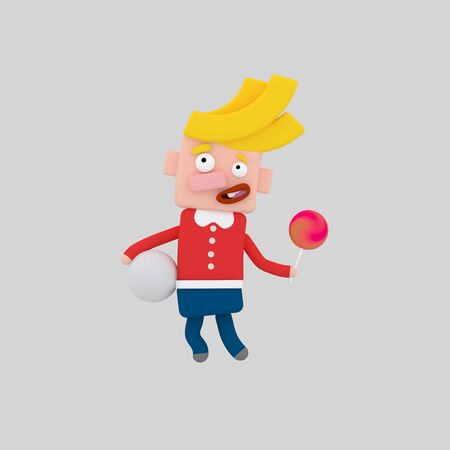 Blonde kid holding a candy. 3d illustration