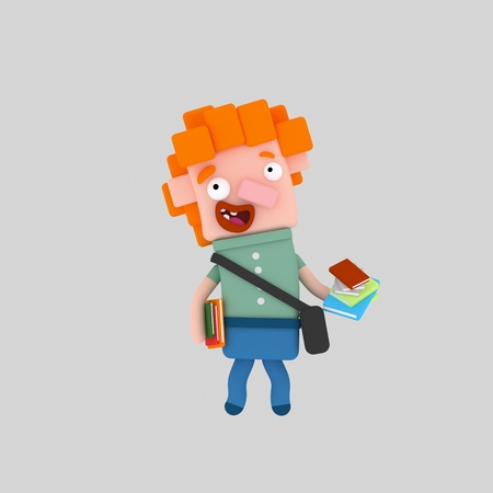 Youn boy holding many books. 3d illustration Stock Photo