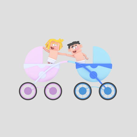 Babies on a strollers. 3d illustration Stock Photo