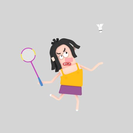 Woman playing badminton. 3d illustration