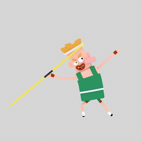 Javelin sport man. 3d illustration Foto de archivo - 98949661