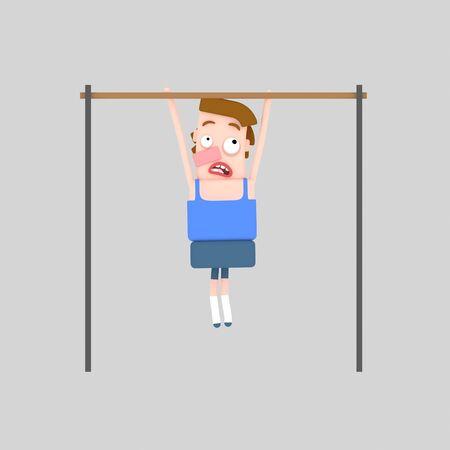 Man practicing push ups. 3d illustration