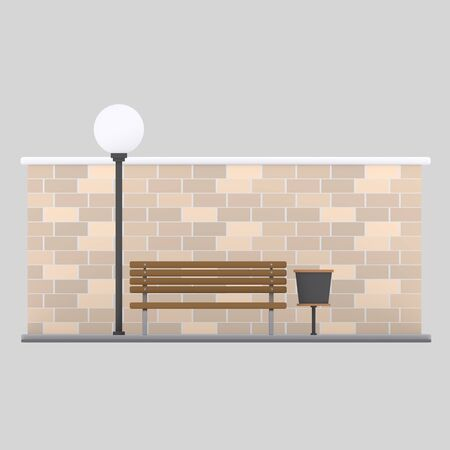Bench in front of brick Wall. Set. 3d illustration Imagens